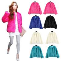 Vintage Women Faux Fur Coat Winter Warm Outwear Long Hair Jackets Overcoat Tops Free shipping & Drop shipping HQ0001