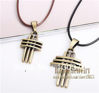 Hot Selling 2013 Retro Jewelry Ancient Bronze Snake Chain Necklace Geometric Cross Cute Pendant Couple Necklace for Lovers