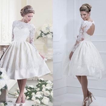 Белый элегантный Vestido де Noiva курто длиной до колен высокая шея атласная короткие кружева свадебное платье с замочная скважина вернуться