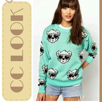 2013 Autumn Winter American European Street Style Fashion Cute Round Neck Sugar Multi Color Glasses Bear Cotton Sweater