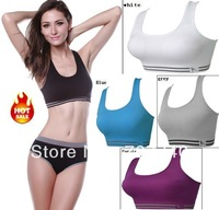 2014 Hotselling 3pcs HOT sale new design Fahion sports running bras double layer wire free seamless padded bra for yoga
