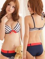 2014 Japanese Naval Air Baby Fashion Halte Back Closure Sexy Secret Push Up Bra Striped Underwear Bra Set BRA9831 free shippping