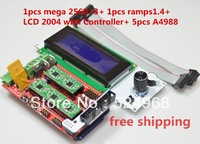 Free shipping!!New arrival!!Ramps 1.4 + Mega2560 R3 +5pcs A4988  +LCD 2004 with Controller For ramps kit and RepRap 3D Printer