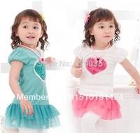 SH106 Free Shipping 1pcs kids dress tutu baby girl dress kids wear flower Princess T-shirt kids clothing Retail