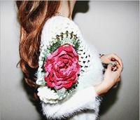 new 2014 brand winter casual dress tide jumper bottoming sweaters Oblique hem rose knit women dress retail whole sale free ship