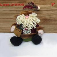 "2pcs/lot  Stuffed Puppet 9"" Christmas Decoration for Sitting under Xmas Tree Santa Decor Gifts for Kids Santa Reindeer"