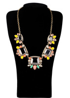 Fashion fashion accessories luxury candy color short design crystal necklace