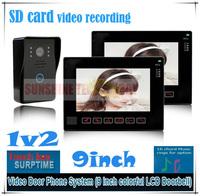 "9"" SD Card Video Recording Video Door Phone Intercom System door bells Home Security + Waterproof Camera (1 camera+2 monitors)"