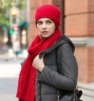 women's hollow wool knitted scarf knitted hat autumn winter warm solid color twist wool hat scarf lady red leisure suit female