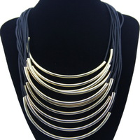 Fashion Unique Luxury Metal Tube Pendants with Rope Chain Choker Statement Necklace Free Shipping