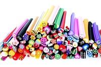 100 pieces New 3D Mix Fimo Clay Slice Nail Art Tips UV Acrylic Decoration Fimo Canes Rods Sticks Sticker DIY Slice Tips