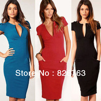 OL Career Dress Suits Lady's Working Formal Pencil Dresses Sexy V-Neck One-Piece Dress Solid Slim Tops