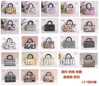 FREE SHIPPING double zipper small cloth portable women's handbag casual nylon cotton prints bag
