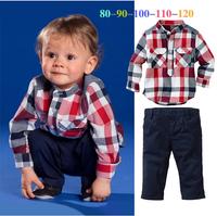 2014 free shipping children suit Top Quality boys soft Cotton plaid shirt + trousers 2pcs kids clothes set long sleeve