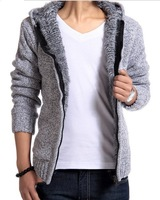 Explosion models thick warm wool inner hair gall hooded cardigan men's sweater coat Knit coat