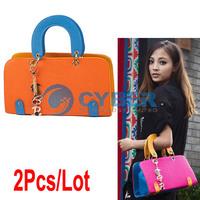 2Pcs/Lot Europe Elegant Women's PU Leather Totes Bags Classics Shoulder Handbag Purses Sling Clutch Bag 2Colors 7247