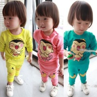 Free Shipping Unisex Baby Childrens Long Sleeve Lovely Monkey And Banana Outfits Sets Age9M-2Y