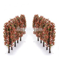 Free Shipping 3.3 Inch Green Train Set Scenery Landscape Model Tree with Peach Flowers Scale 1/200 - 20PCS