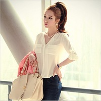 Free shipping 2013 spring women's V-neck loose casual clothes chiffon long-sleeve blouses female sunscreen shirt