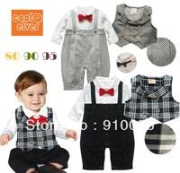 Infants Baby Boys Gentleman One-piece Romper With Plaid Stripe Vest Child Red Bow Tie Crawling Suit Kids Bodysuits Jumpsuits