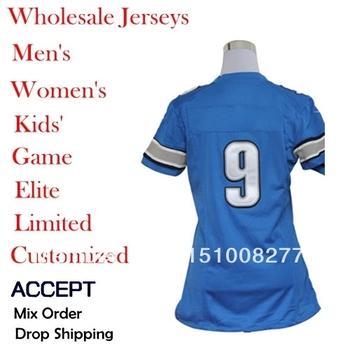 Drop Shipping American Football Jerseys 9 Matthew Stafford 44 Jahvid Navy 90 Ndamukong Suh blue/white color  women Elite jerseys