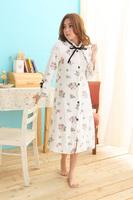 White floral sleepwear Herfair lounge nightgown  dark pink and white point Pajama Sets