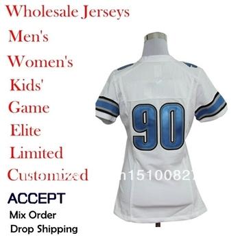 Drop Shipping American Football Jerseys 90 Ndamukong Suh 9 Matthew Stafford 44 Jahvid Navy blue/white color  women Elite jerseys