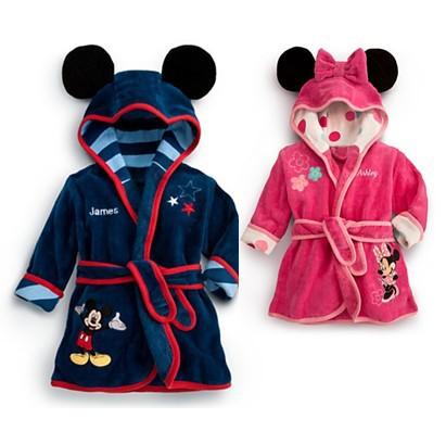 2013 free shipping 1set 2013 new baby girl/boy cartoon Pajamas Micky Minnie Mouse Bathrobes Robe kids soft Bath towel 3 color(China (Mainland))