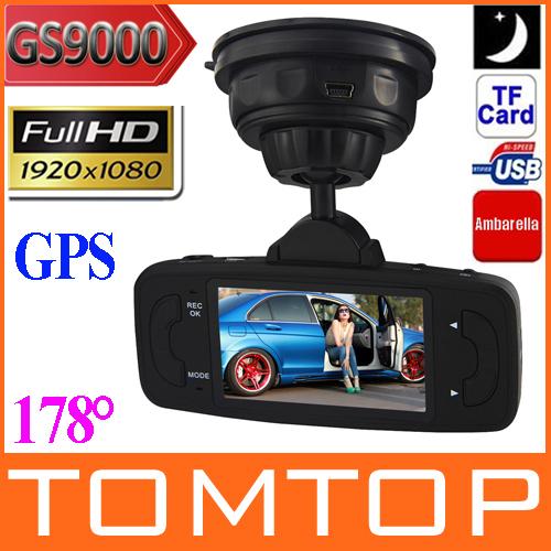 "GS9000 2.7"" TFT 1080P 178 Degree Car DVR Vehicle Camera Driving Recorder GPS G-sensor H.264 Motion Detection IR Night Vision(China (Mainland))"
