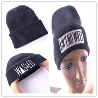 Free Shipping !!! 1 pcs New 2013 Hip hop men&women letter embroidery black beanie winter knitting hats cap