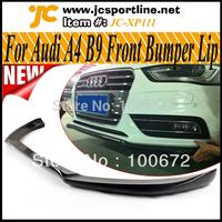 Real Carbon Fiber A4 B9 Front Bumper Lip Car Spoiler Front Skirts for Audi A4 B9 2013,Fits: A4 B9 Standard Bumper