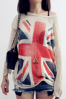 East Knitting Sweater Women 2014 Wildfox UK Flag Print Sweater Pullovers Destroyed Hole Hollow Crochet Loose Cardigan