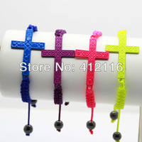 2013 Wholesale Hot Selling Neon Jewelry Sideways Cross Bead Infinity Bracelets for men and women