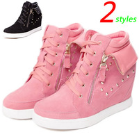 ASH New Arrival Styles Wedge Sneakers,Genuine Leather Rivet Watermelon Red,EU 35~39,Wedge Height 7cm,Drop Shipping/Free Shipping