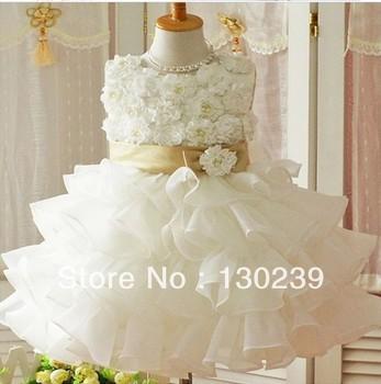 Retail 2013 new sleeveless Waist Chiffon Dress Girls Toddler 3D Flower Tutu Layered Princess Party Bow Kids Formal Dress