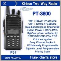 Walkie Talkie KIRISUN 5Watt V/U Dual-band Portable Commercial Two-way Radio PT3800 Free Shipping