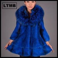 High quality women mink fur coat with blue color turn down fox fur collar three quarter sleeve Korean style 2014