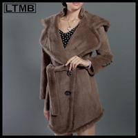 LTMB4230 Women rex rabbit fur coat regular length big turn down collar full sleeve mink fur hem 2014
