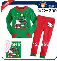 XC-299 Free Shipping  Christmas clothing sets,Hello Kitty long sleeve t-shirts+pants, children Cartoon pyjamas Kids pajamas