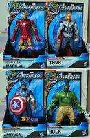 4 pcs Marvel The Avengers Iron Man + Hulk + Thor + Captain America Action Figures Toys Toy Figures 8''   36672 Asst