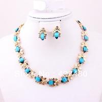 New Style Bridal Wedding Jewelry Set Gold Plated Blue Resin Beads Party Gift Jewelry Sets