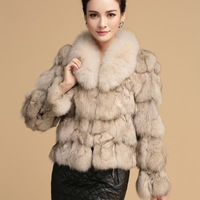 2014 new winter hight quality ladies 100% real natural Large fox fur coat OL ladies slim female short design fox fur coat