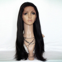 "Cheap and Hot Sale Full Lace Wigs1B# Off Black Yaki Straight 8-24"" Indian Remy Human Hair African American Wig Free Shippping"