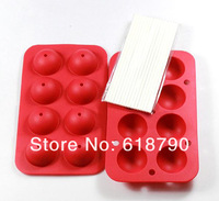 8 holes lollipop mold set food grade silicone cake mold chocolate mould  baking tool Free shipping