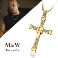 9$ Free Shipping! N703 High Quality 18K GP Gold Plated Fast and Furious Cross Necklace Jewelry for Men