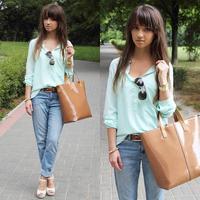 5 Colors Women's Long Sleeve Irregular Hem Chiffon Blouse Ladies Mint Green Pocket Tops White High Street Casual Shirt