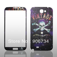 New Screen Protectors For Samsung Galaxy Note II  Human Skull Pattern Back and Front