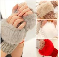 Fast arrived NEWS Lovely imitation  knitted glove  warm winter half finger gloves  1pair