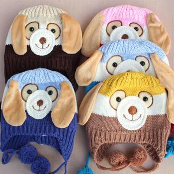 New 2015 Animal Dog Monkey Shaped Knitted Baby Cap Boy Autumn Winter Warm Hat Children Kids' Cute Cartoon Ear-protected Beanie