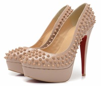 Brand studded spikes rivets genuine leather heels 14cm platform pumps fashion design red bottom high heel shoes for women